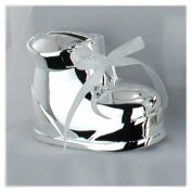 Silver-plated Interchangeable Ribbon Baby Bootie Bank