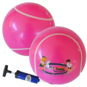 Le Petit Tennis - My First Tennis Ball - Pack of 2 PINK Balls + Pump (15cm Inflatable Tennis Ball) for Ages 2-3-4-5-6