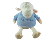 White Plush Lamb with Blue Sweater 9
