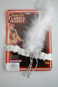 Flapper 1920's White Headband With Feathers