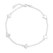 Bling Jewellery 925 Sterling Silver Heart Link Anklet Ankle Bracelet 22.9cm