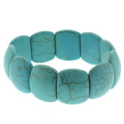 "7.5"" Turquoise Howlite Beads Stretch Bangle Bracelet 20mm"