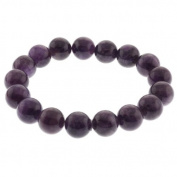 12mm Round Purple Amethyst Bead Gemstone Stretchy Bracelet 8 Inch