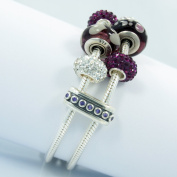 High Quality Solid Sterling Silver .925 Double Clip Diva Safety With Purple CZ Stone Clip lock stopper beads charms fits Pandora Chamilia Bracelet