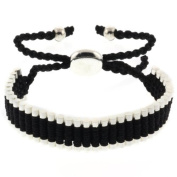 Black and Silver Colour String 5-25.4cm e Adjustable Friendship Bracelet