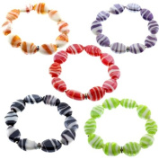 Set Of 5 Multi Colour Murano 19.1cm Stretch Bracelet Red Green Yellow Purple Black