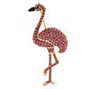 Pink. Crystal 'Flamingo' Brooch In Gold Plated Metal
