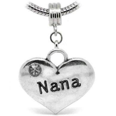 """ Nana "" 2 Sides Heart Shaped Silver Dangle W/Stone Charm Bead Pandora Troll Chamilia Compatible"