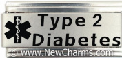 Type 2 Diabetes Medical Alert Italian Charm Bracelet Jewellery Link