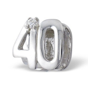 ".925 Sterling Silver ""Number 40 Forty 40th Birthday"" Charm Bead Compatible with Pandora Chamilia Troll Charm Bracelet"