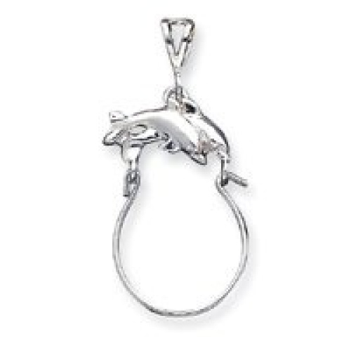 Sterling Silver Dolphin Charm Holder - JewelryWeb. Free Shipping