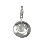 SilberDream Charm smily, 925 Sterling Silver Charms Pendant with Lobster Clasp for Charms Bracelet, Necklace or Charms Carrier FC3111
