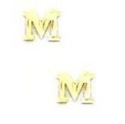 14k Yellow Initial M Friction-Back Post Earrings - JewelryWeb