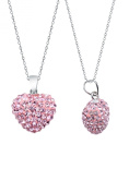 Authentic Pink Sapphire Colour Heart Shape Pendant Crystals. chain Not Included)
