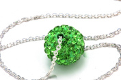 Green Colour Crystals Ball Pendant, Includes Sterling Silver 45.7cm Chain.