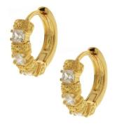 Gold Plated Huggie Hoop Earrings With Cubic Zirconia