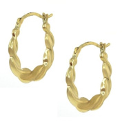 """3/4"""" U Shape 10K Yellow Gold Earrings With Click-In Lever Backs 18.00 mm"""