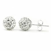 Swaroski White Crystal Ball 8MM Round Sterling Silver Stud Earrings
