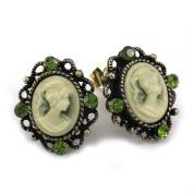 Small Dark Green Cameo Stud Post Pierced Earrings Antique Design NEW Romantic Cameo Jewellery