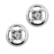 0.06 Ct 2mm 925 Sterling Silver Genuine Round Diamond 4-Prong Stud Earrings