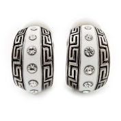 Small C-Shape Greek Style White Enamel Clip On Earrings