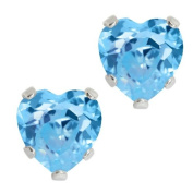 Sterling Silver & Blue Topaz Heart Stud Earrings 6mm
