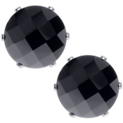 5.50 Ct Black Round Onyx Checkerboard Stud Earring 10MM