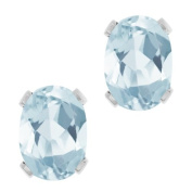 1.44 Ct Oval Shape Sky Blue Aquamarine Sterling Silver Stud Earrings