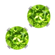 1.80 Ct Round Green Peridot Sterling Silver 4-prong Stud Earrings 6mm