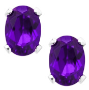 2.30 Ct 8X6MM Purple Amethyst 925 Sterling Silver Stud Earrings