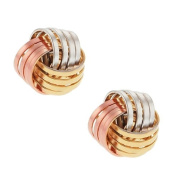 Tri-Colour Rose White and Yellow 10mm Gold Plated Knot Earrings