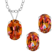 2.10 Ct Oval Azotic Ecstasy Topaz .925 Sterling Silver Earrings Pendant Set 45.7cm