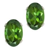 0.80 Ct Oval Shape Green Tourmaline Sterling Silver Stud Earrings