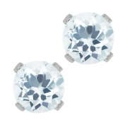 0.90 Ct Round Sky Blue Aquamarine 10K White Gold 4-prong Stud Earrings 5mm