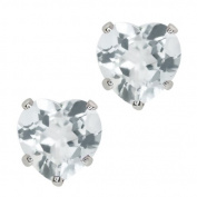 1.34 Ct Heart Shape Sky Blue Aquamarine 10k White Gold Stud Earrings 6mm