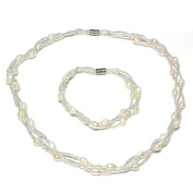 Twisted White Freshwater Cultured Pearl Necklace & Bracelet With Magnetic Clasp