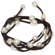 121.9cm White Freshwater Pearl On Brown Leather Wrap Bracelet / Necklace