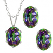 3.50 Ct Oval Green Mystic Topaz Gemstone Sterling Silver Pendant Earrings Set