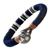 . Mens Navy Blue Medallion Leather Bracelet Cuff