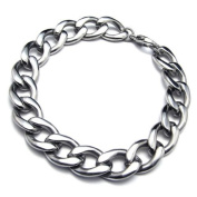 KONOV Jewellery Stainless Steel Wide Men's Bracelet, Silver, 24.1cm