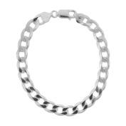Sterling Silver Men's Wide Curb Link Bracelet, 21.6cm