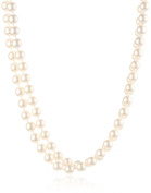 Cream 8mm Simulated Pearl Strand Necklace, 60""