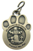 Pewter Patron St Saint Francis of Assisi Catholic Protection Pet Medal Dog Cat