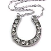 Horseshoe Horse Shoe Pendant Necklace Lucky Western Cowgirl Charm High Polish Silver Tone Ladies Women Fashion Jewellery