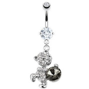 Body Accentz Belly Button Ring 316L Surgical Steel CZ Snuggling Dangle Teddy Bear Paved Gem 14 Gauge 1cm