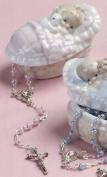 Rosary in Baby Girl Porcelain Keepsake Box
