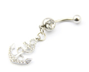 316L Surgical Stainless Steel 14g 1.1cm Anchor Crystal Rhinestone Gem Bar Navel Belly Ring Body Jewellery