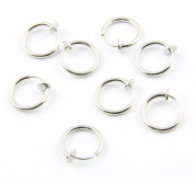 316L Surgical Stainless Steel 8 Clip On Fake Piercings Rings Ear Nose Lip Earrings Body Jewellery