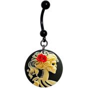 Red Rose Skeleton Cameo Dangle Belly Ring