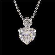 1 Carat Sterling Silver CZ Heart Pendant